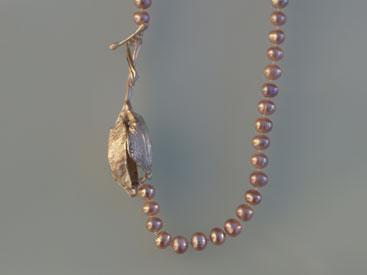 'Physalis' Silber, Perlen