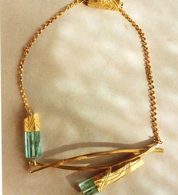 Gold granuliert, Aquamarin