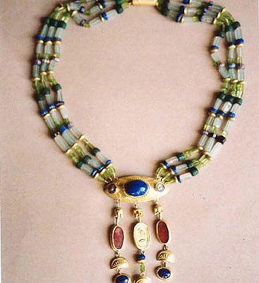 'Ägyptisch' - Gold, Lapislazuli, Türkis, Karneol, Glas